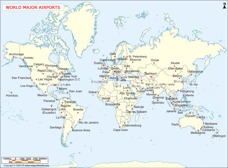 United Cargo Travels - Map of major us airports